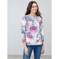 Joules Harbour Floral Top - Cream, Navy, Size 10, Women