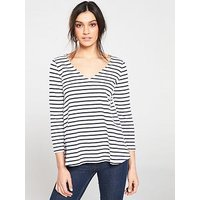 Joules Harbour V Swing Top - Cream/Navy Stripe, Navy, Size 14, Women