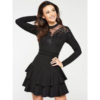Michelle Keegan Lace and Mesh Detail Skater Dress - Black, Black, Size 16, Women