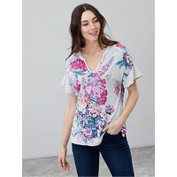 Joules Katherina Woven Jersey Mix Top - Floral, Grey Floral, Size 18, Women