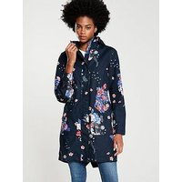 Joules Joules Rainelong Printed Waterproof Jacket, Navy, Size 12, Women