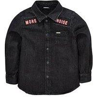Diesel Diesel Boys Long Sleeve Badge Denim Shirt, Black Denim, Size 4 Years