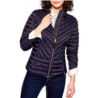 Joules Elodie Chevron Quilted Jacket, Navy, Size 16, Women