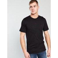 Armani Exchange Dragon Embroidered Crew Neck T-shirt, Black, Size L, Men