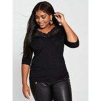 V by Very Curve Lace Trim Neck Top - Black, Black, Size 20, Women