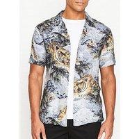 Allsaints Chokai Tiger Print Short Sleeve Shirt - Light Grey