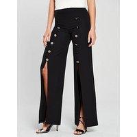 V by Very Split Front Wide Leg Trouser - Black, Black, Size 16, Women