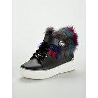 MICHAEL KORS Girls Faux Fur High Top, Black, Size 11.5 Younger