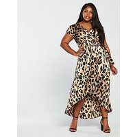 AX Paris Ax Paris Curve Satin Leopard High Low Hem Wrap Dress, Leopard, Size 26, Women
