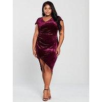 AX Paris Velvet Wrap Dress - Plum , Plum, Size 24, Women