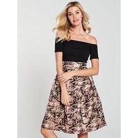 Ax Paris Jacquard Skirt Dress - Black