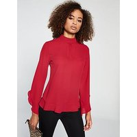 V by Very Frill Blouse, Red, Size 10, Women