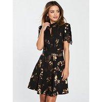 Little Mistress Petite Foil Print Crochet Trim Mini Dress - Black/Gold, Black, Size 8, Women