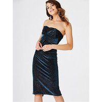 Girls on Film Bow Front Velvet Strapless Bodycon Midi Dress - Teal, Teal Green, Size 8, Women