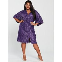 Little Mistress Curve Kimono Sleeve Twist Sequin Dress - Purple, Purple, Size 26, Women