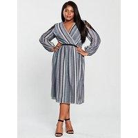 Little Mistress Curve Satin Stripe Waisted Detail Midi Dress - Slate
