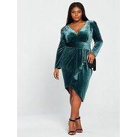 Little Mistress Curve Long Sleeve Velvet Wrap Dress - Teal