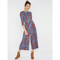 Girls on Film Printed Jumpsuit With Tie Back - Brown, Brown, Size 10, Women