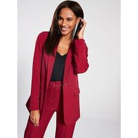 V by Very Single Breasted Blazer, Red, Size 10, Women