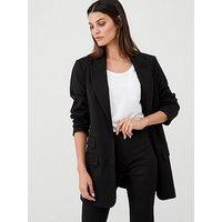 V by Very Longline Workwear Jacket, Black, Size 12, Women
