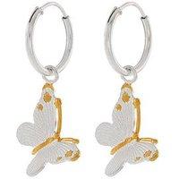 Accessorize  Sterling Silver Bella Butterfly Sleeper Hoop Earrings - Silver , Silver, Women