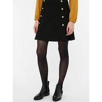 Monsoon Margo Military Button Skirt - Black, Black, Size 18, Women