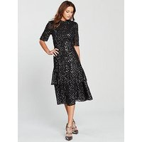 Whistles Ivanna Sequin Dress - Black Multi