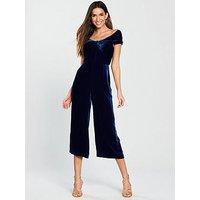 WHISTLES Whistles Contanza Bardot Velvet Jumpsuit - Navy, Blue, Size 16, Women