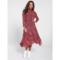 Whistles High Neck Abstract Animal Carlotta Dress - Red