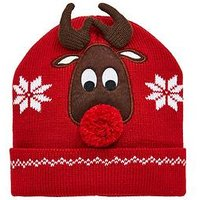 V by Very Girls 3D Pom Pom Reindeer Christmas Hat - Multi, Multi, Size 3-24 Months