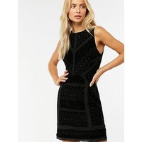 Monsoon Visha Lace Velvet Shift Dress - Black
