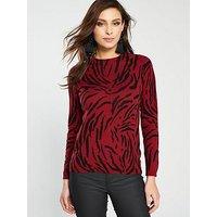 WHISTLES Animal Printed Knit, Red, Size 10, Women