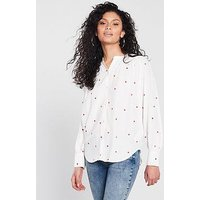WHISTLES Heart Embroidered Blouse, Cream/Multi, Size 6, Women