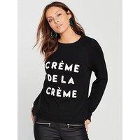 WHISTLES Crème De La Crème Sweatshirt, Black, Size Xs, Women