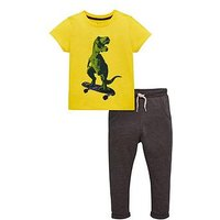 Mini V by Very Boys Dino Skate T-Shirt And Jogger Outfit - Yellow/Grey, Yellow/Grey, Size Age: 2-3 Years