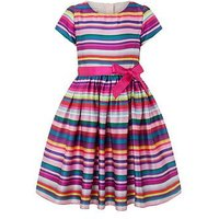 Monsoon Ribbon Stripe Dress, Multi, Size 8 Years, Women