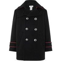 Boys, Monsoon Brando Black Pea Coat, Black, Size Age: 2-3 Years