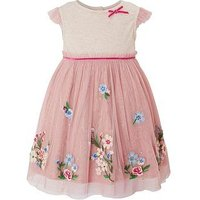 Monsoon Baby Abigail Disco Dress, Pink, Size 12-18 Months