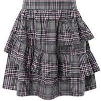 Monsoon Camilla Check Skirt, Grey, Size Age: 3-4 Years, Women