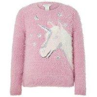 Monsoon Mona Unicorn Jumper, Pink, Size Age: 12-13 Years, Women