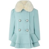 Monsoon Baby Blossom Blue Coat, Blue, Size 18-24 Months