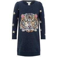 Monsoon Taylor Tiger Sweat Dress, Navy, Size 5-6 Years, Women