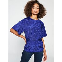 V by Very Knot Front Jacquard Top, Cobalt, Size 16, Women