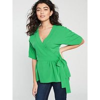 V by Very Wrap Blouse - Green, Green, Size 8, Women