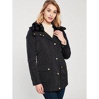Barbour International Garrison Jacket, Black, Size 14, Women