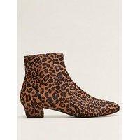 Mango Leather Leopard Print Ankle Boot, Multi, Size 5, Women