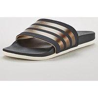 adidas Adilette Comfort, Grey Metallic, Size 9, Women