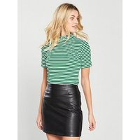 V by Very Striped Short Sleeve Turtle Neck - Green, Green Stripe, Size 10, Women
