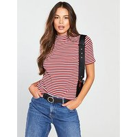 V by Very Striped Short Sleeve Turtle Neck, Red Stripe, Size 12, Women