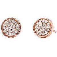 MICHAEL KORS Michael Kors Sterling Silver Rose-Gold Plated Pave Stud Earrings, Rose Gold, Women
